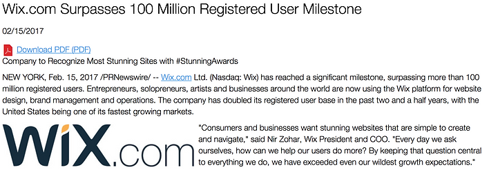 Screen shot of Wix Press Release - Wix Surpasses one hunrd million users in Feb 2017