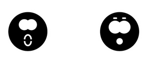 Two shocked face icons