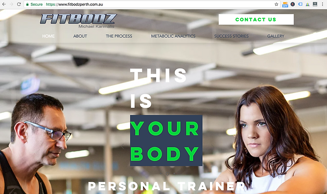 Screen Shot of Fitbodz website, website design done by Smith Social
