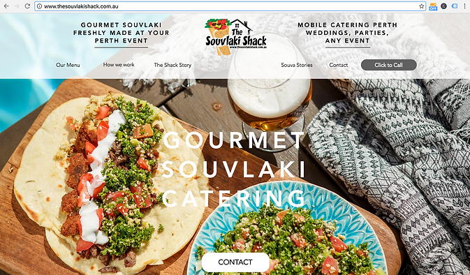 Screen Shot Souvlaki Shack Website, website work done by Smith Social
