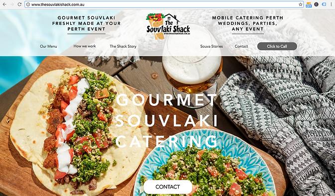 Screen Shot Souvlaki Shack Website, website work done by Smith Social