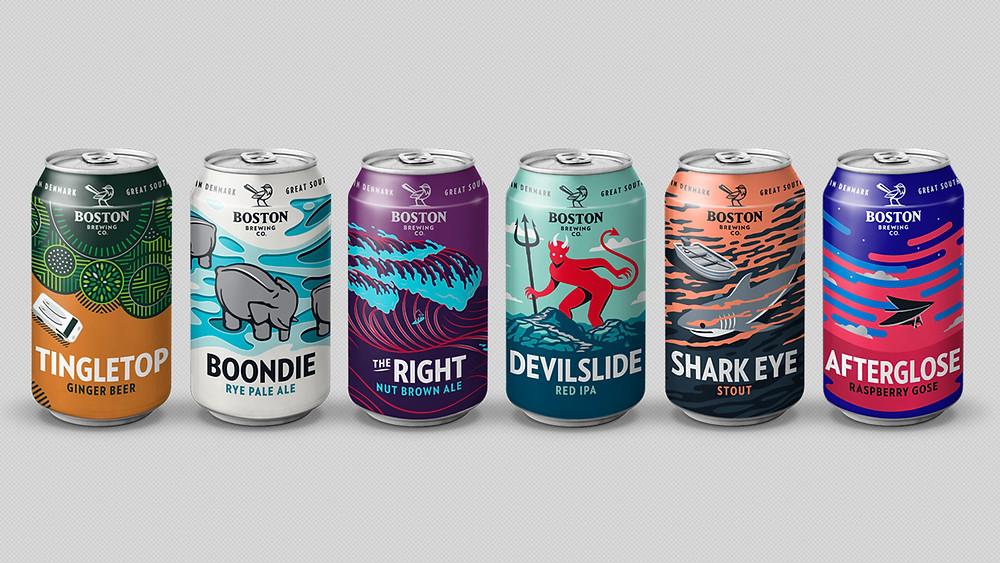 Boston Brewing Co can range - Design by Zendoke