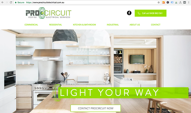 Screen Shot Pro Circuit Electrical website, website design work done by Smith Social