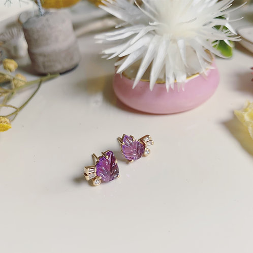 LEAF AMETHYST Stud Earrings - pair