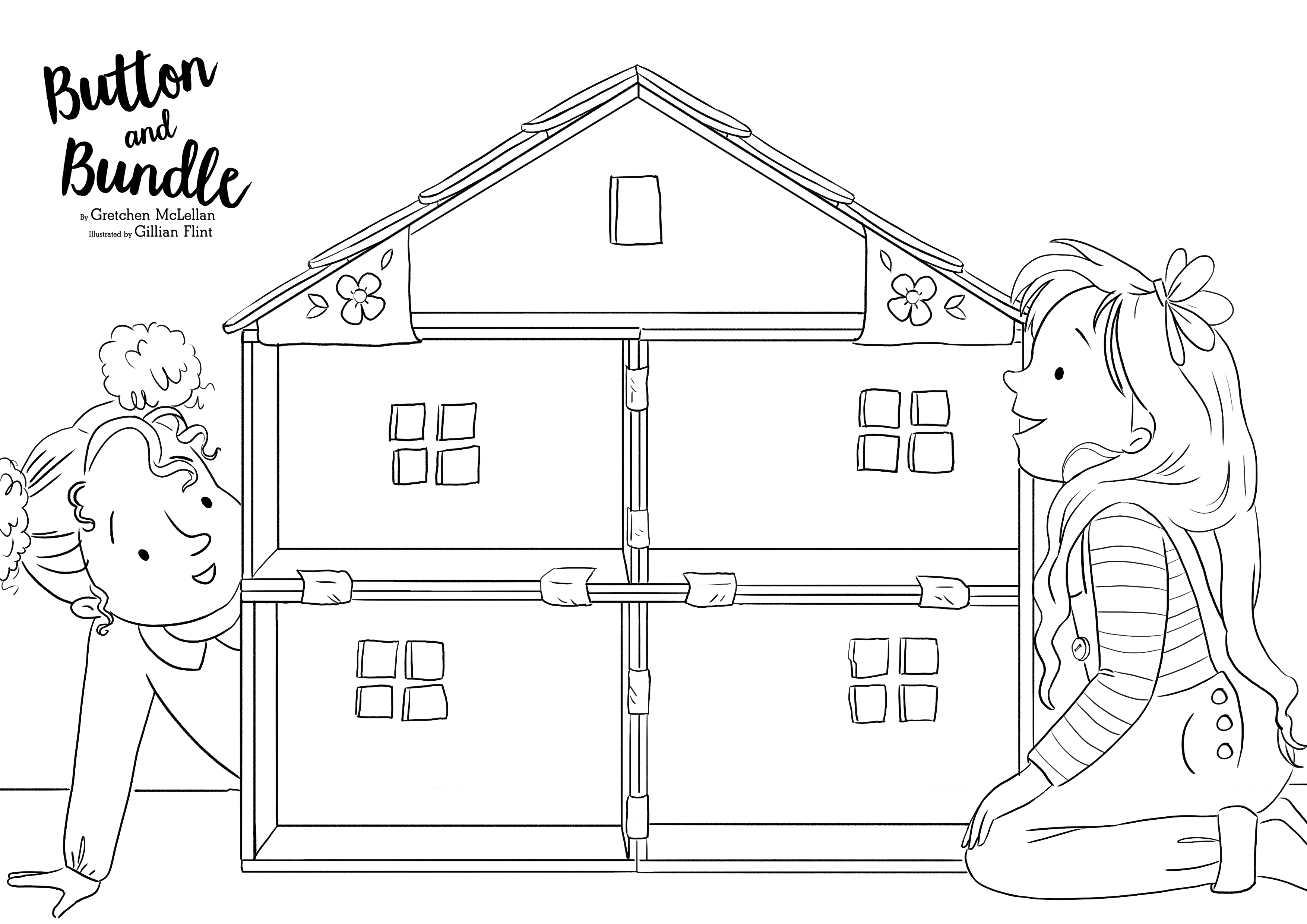 Button and Bundle House colouring sheet.