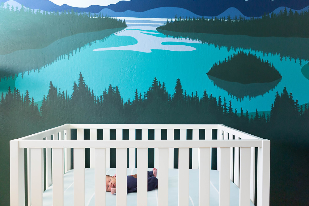 white crib in front of a wall mural of Emerald Cove, Lake Tahoe, nursery