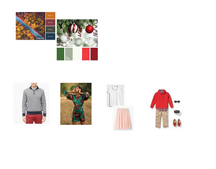 holiday color palettes, men's sweater, women's dress, girl's top and tulle skirt, boy's holiday outfit featuring a red sweater