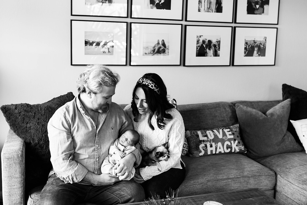 black and white image of a new mother and father looking down at their newborn son, with their little dog, Love Shack pillow, textured couch, black and white framed photo wall