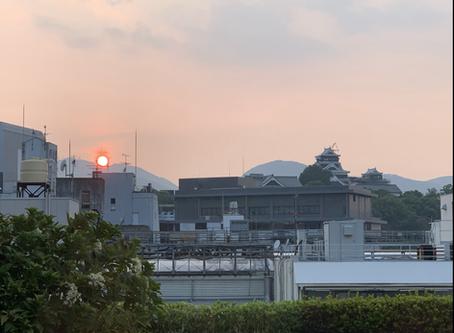 金峰山へ沈む夕陽と。。。