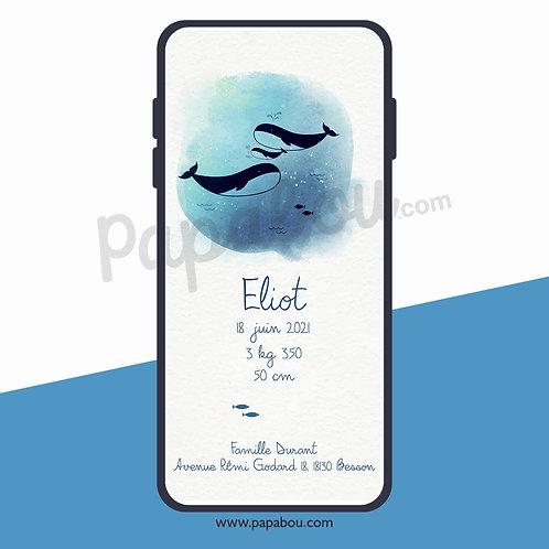 Faire-Part naissance numérique -- Baleine