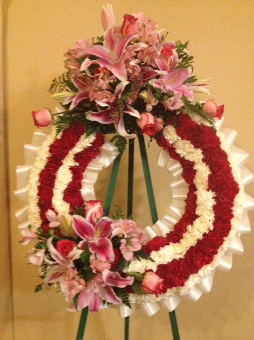 """31"""" funeral wreath with 2 arrangement attach (SF014)"""