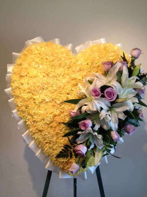 "28"" Heart shape funeral arrangement with Rose, Carnation, and Lily. (SF 006)"