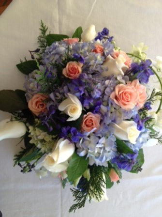 Bridal Bouquet with Rose, Hydrangea, Stock and Green (WE 006)