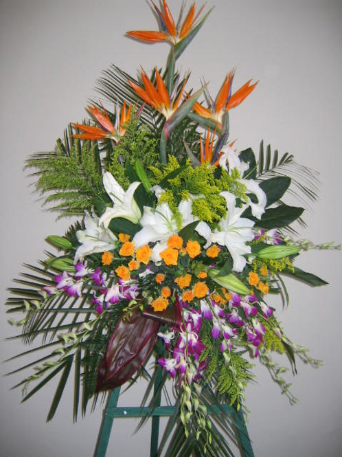 Funeral Spray with Tropical flowers (SF 033)