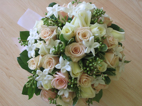 Bridal Bouquet with Rose, Stephanotis and Green (WE 002)