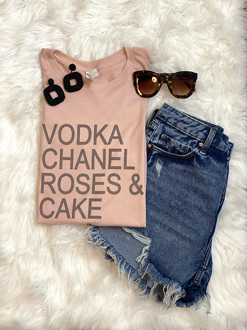 Vodka Chanel Roses & Cake Graphic T-shirt ( Vintage Feel )