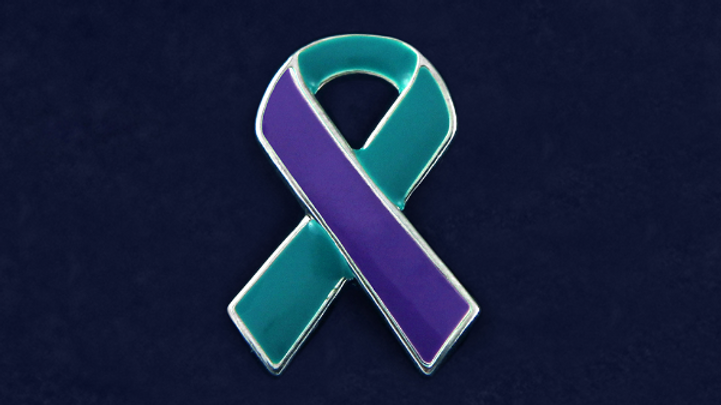 Purple and Teal Ribbon Pin DomesticViolence and Sexual Assault