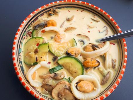 Recette- curry de courgettes et fruits de mer