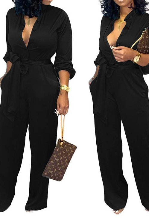 JUMPSUIT TIE WAIST LONG SLEEVE