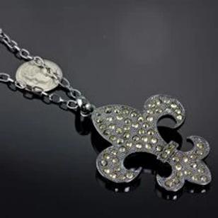 Fleur De Lis Large Pendant Necklace