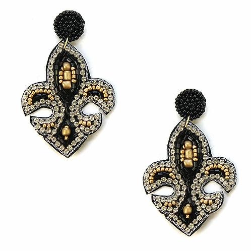 Viola seed bead fleur de Lis earrings