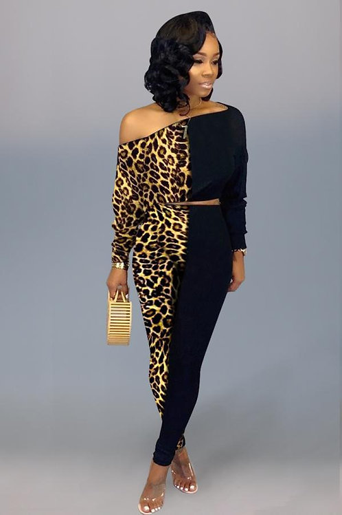 Black Leopard Two Piece