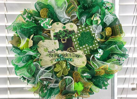 Happy St. Patrick's Day Deco Mesh Wreaths
