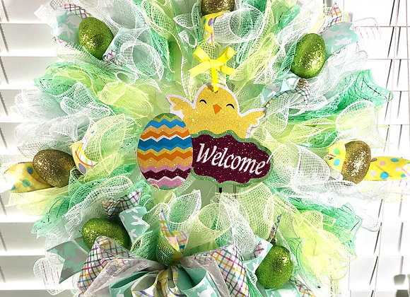 Green and Yellow Welcome Wreath