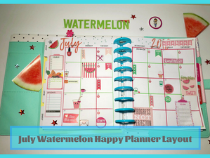 July Watermelon Happy Planner Layout