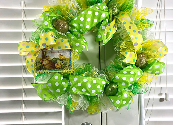 Green and Yellow Easter Wreath