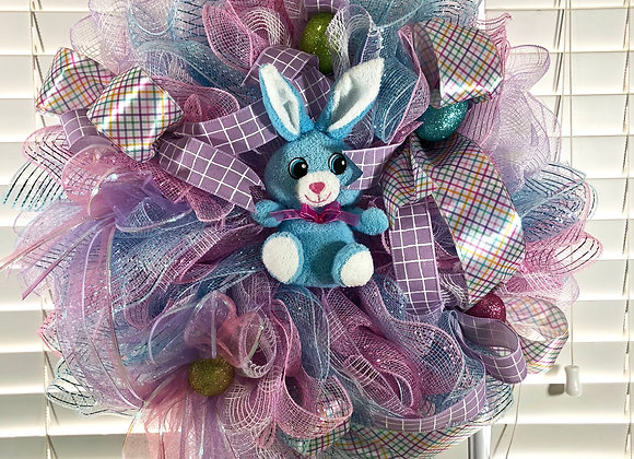 Pink and Blue Bunny Wreath