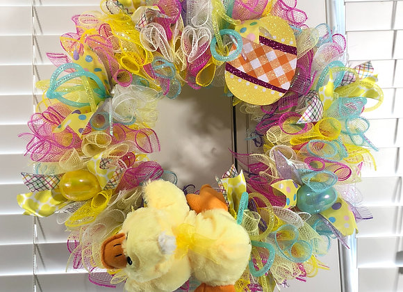 Brightly Colored Duckie Easter Wreath