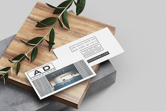 AD White Business Card Design Template