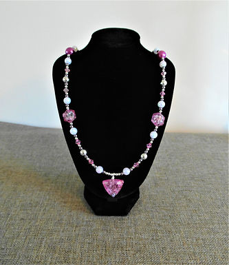 Pink Crackle and Silver Bead Necklace