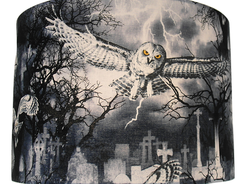 Gothic Owl and Graveyard Handmade Lampshade, Drum or Empire Shapes