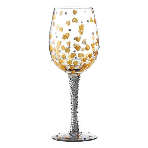 Heart Of Gold Hand Painted Wine Glass