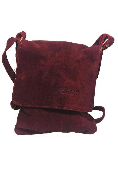 Vera Tucci Premium Suede Abby Shoulder Bag in Burgandy