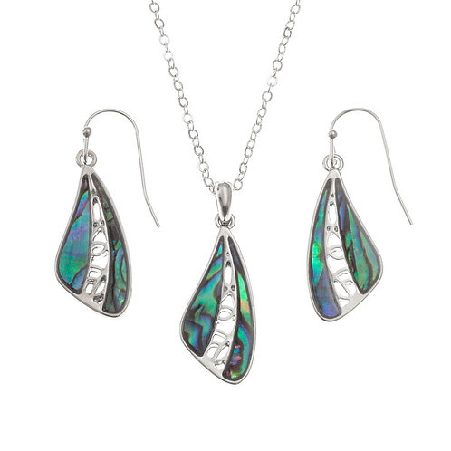Inlaid Paua Shell Wing Necklace and Earrings Set