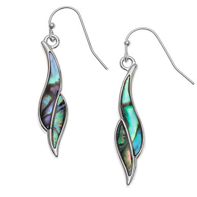Inlaid Paua Shell Twisted Leaf Hook Earrings