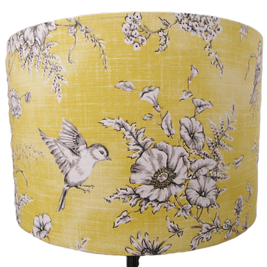 Mustard Bird + Flowers Fabric Handmade Lampshade, Drum or Empire Shapes