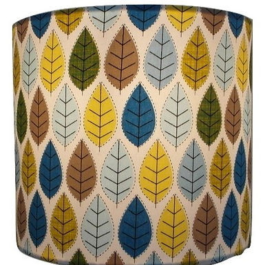 Scandi Leaves Fabric Drum Lampshade