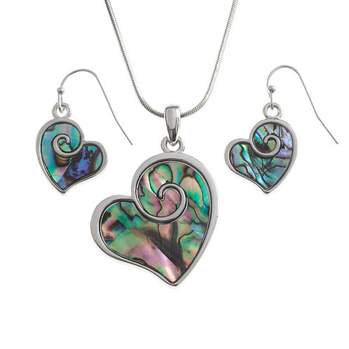 Heart Swirl Necklace and Earring Set, TJ133