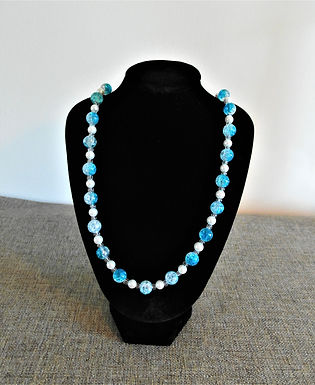 Blue Crackle Beads Beaded Necklace