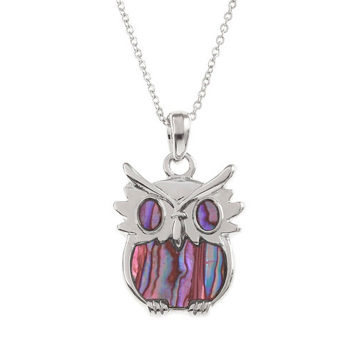 Inlaid Paua Shell Owl Necklace