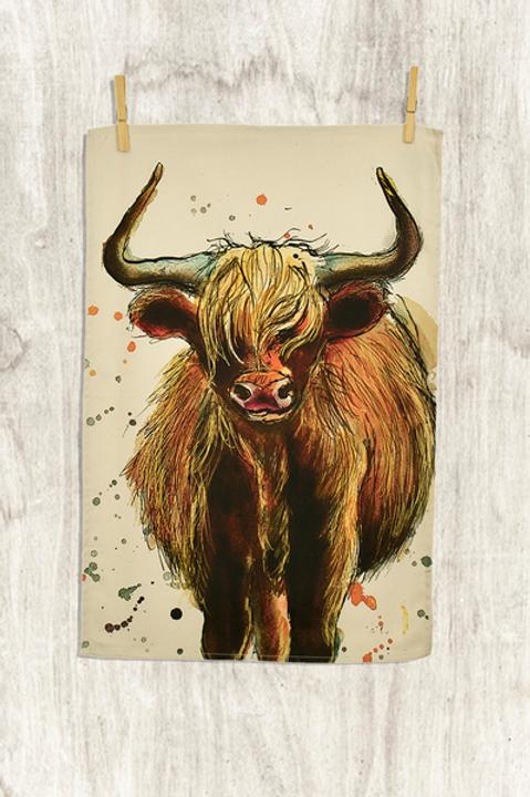 Highland Cow Tea Towel