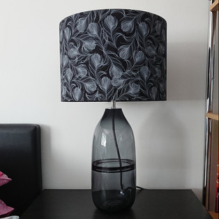 Feathers on Black cotton Lampshade