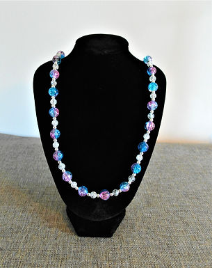 Pink and Blue Crackle Bead Necklace