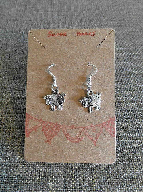 Sheep Earrings With Silver Hooks