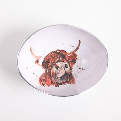 Highland Cow Oval Recycled Aluminium Bowl