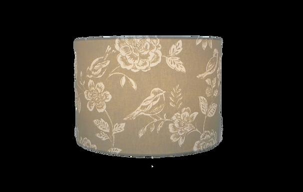 Beige Birds and flowers handmade lampshade, Drum, Hexagon or Empire Shape